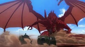 アニメ「GATE」で炎龍と自衛隊が戦うシーン