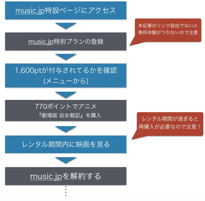 『劇場版 幼女戦記』 映画 フル動画を無料視聴する方法を示したフロー図