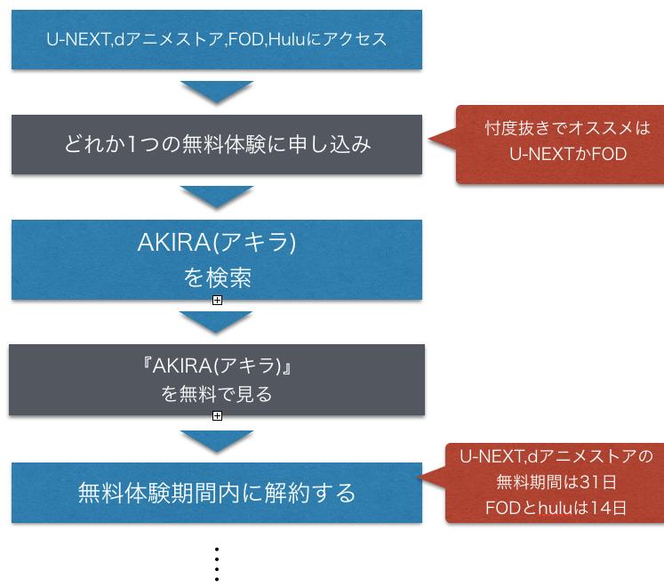 アニメ『AKIRA(アキラ)』全話無料で映画フル動画視聴方法を示した図